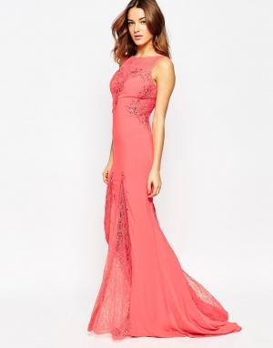 Forever Unique Платье макси с кружевными вставками Angelina. Цвет: оранжевый