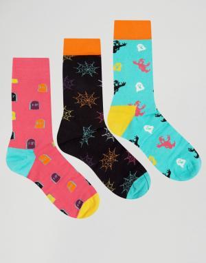 Happy Socks Подарочный набор для Хэллоуина из 3 пар носков. Цвет: мульти