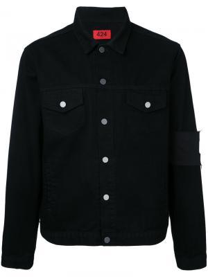 Джинсовая куртка с нашивкой на рукаве 424 Fairfax. Цвет: чёрный