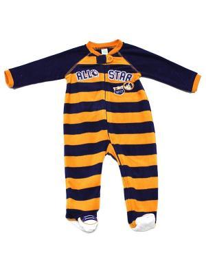 Комбинезон для сна флисовый Бейсбол Little Me. Цвет: оранжевый, синий