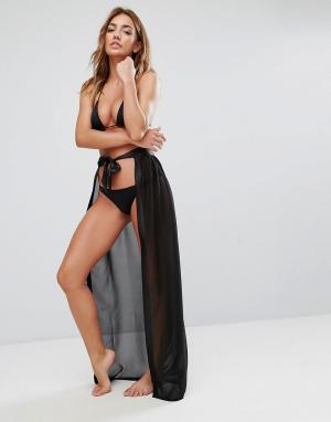 Boohoo Пляжная юбка на поясе спереди. Цвет: черный