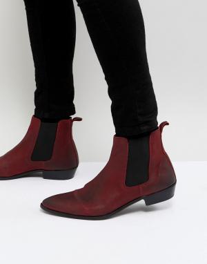 WALK LONDON Красные кожаные ботинки челси Ziggy. Цвет: красный