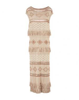 Длинное платье EKLE'. Цвет: бежевый