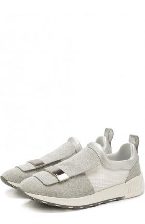 Комбинированные кроссовки с глиттером и металлической отделкой Sergio Rossi. Цвет: серебряный