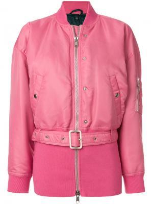 Длинная куртка бомбер с поясом Opening Ceremony. Цвет: розовый и фиолетовый