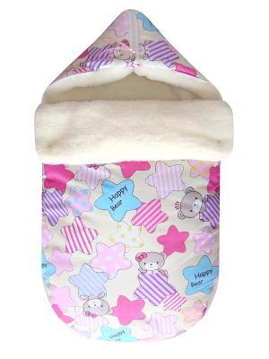 Конверт на овчине JustCute Звездный розовый (зима) СуперМаМкет. Цвет: розовый