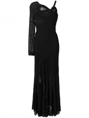 Длинное платье с открытым плечом Roberto Cavalli. Цвет: чёрный