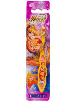 Детская зубная щетка Longa Vita Winx с защитным колпачком. Цвет: желтый