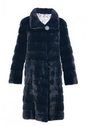 Меховое пальто норка BELLINI. Цвет: синий
