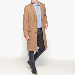 Пальто длинное из смесовой шерстяной ткани La Redoute Collections. Цвет: бежево-карамельный