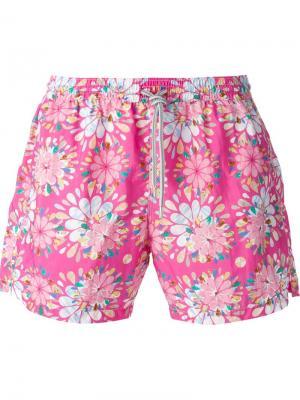 Плавательные шорты с цветочным принтом Capricode. Цвет: розовый и фиолетовый