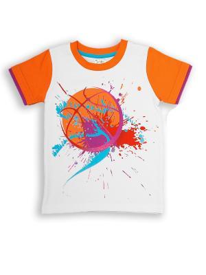 Футболка UMKA. Цвет: оранжевый, белый