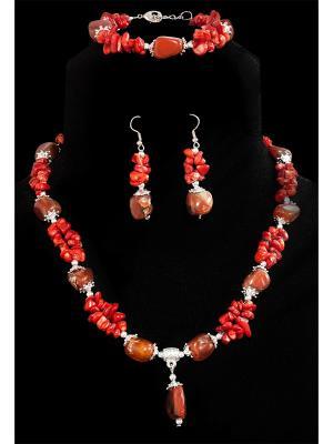 Колье, браслет и серьги. Castlelady. Цвет: коричневый, коралловый, красный