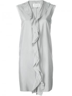 Платье с оборками Maison Margiela. Цвет: серый