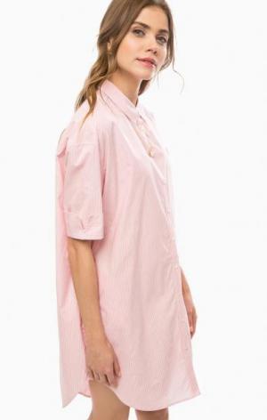 Платье-рубашка в полоску свободного кроя Scotch&Soda. Цвет: розовый