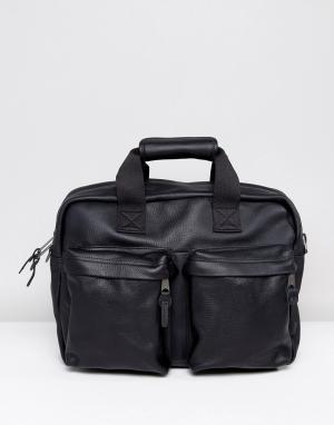 Eastpak Черная кожаная сумка для ноутбука Tomec. Цвет: черный