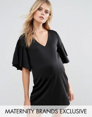 Missguided Maternity Черное платье для беременных с расклешенными рукавами Mater. Цвет: синий