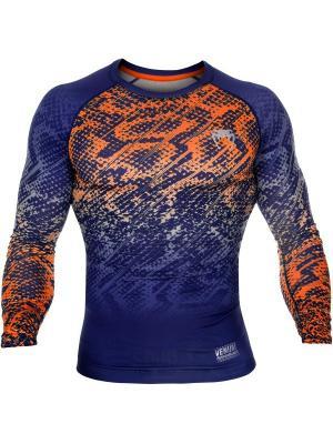 Компрессионная футболка Venum Tropical Blue/Orange L/S. Цвет: синий, оранжевый