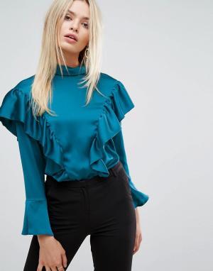 Closet London Атласная блузка с оборками. Цвет: зеленый