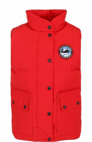 Пуховой стеганый жилет с логотипом бренда Arctic Explorer. Цвет: красный