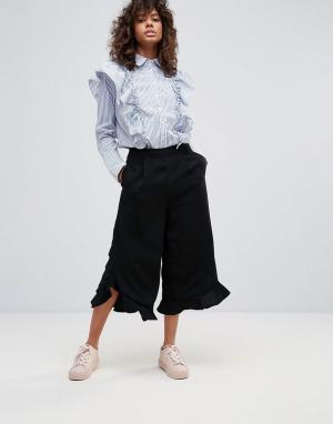 Neon Rose Юбка-брюки с оборками. Цвет: черный
