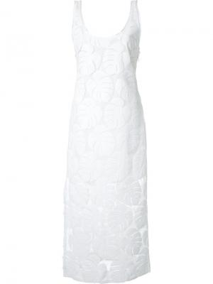 Платье-миди с узором в виде листьев Manning Cartell. Цвет: белый