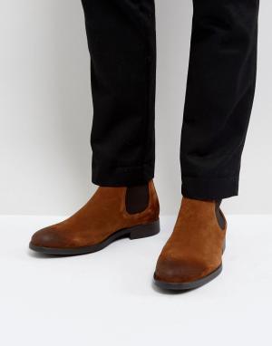 Selected Homme Светло-коричневые замшевые ботинки челси Oliver. Цвет: рыжий