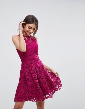 Adelyn Rae Кружевное приталенное платье со свободной юбкой Dylan. Цвет: розовый