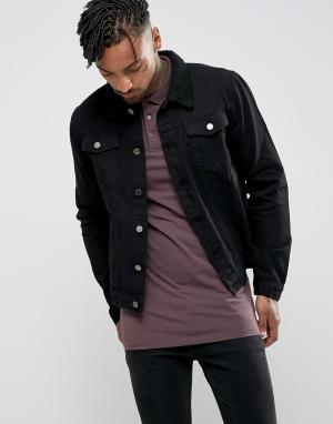 Criminal Damage Джинсовая куртка с воротником борг. Цвет: черный