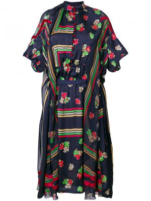 Платье с геометрическим принтом Sacai. Цвет: синий