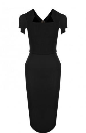 Однотонное платье-футляр с коротким рукавом Roland Mouret. Цвет: черный