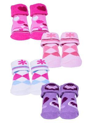 Носки, 4 пары Malerba. Цвет: фиолетовый, белый, розовый