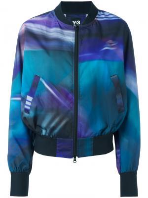 Куртка-бомбер с полосатым принтом Y-3. Цвет: синий