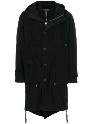 Двубортное пальто-бомбер Cy Choi. Цвет: чёрный