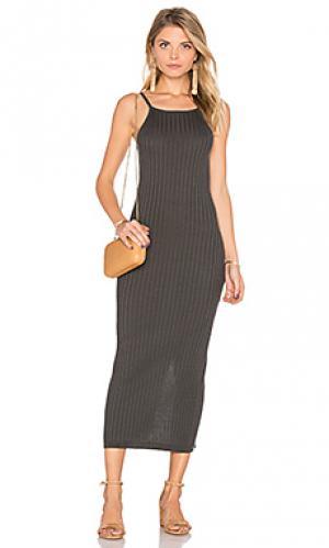 Макси платье в рубчик Autumn Cashmere. Цвет: серый
