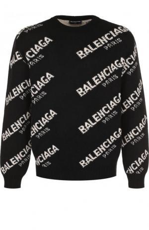 Шерстяной свитер свободного кроя Balenciaga. Цвет: черно-белый