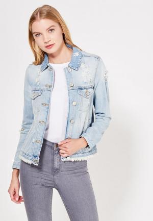 Куртка джинсовая River Island. Цвет: голубой