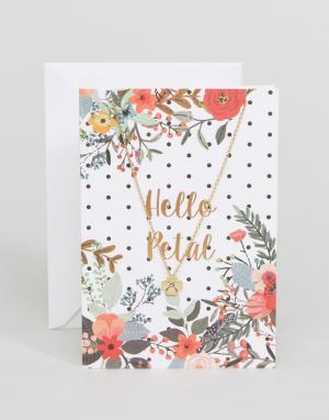 Orelia Ожерелье с цветочной подвеской. Цвет: золотой