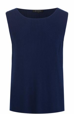 Кашемировый топ фактурной вязки без рукавов St. John. Цвет: темно-синий