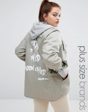 One Three Куртка с принтом в виде граффити. Цвет: зеленый
