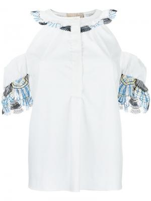 Блузка с открытыми плечами Peter Pilotto. Цвет: белый