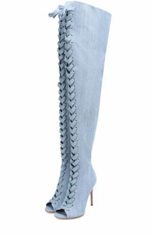 Ботфорты Marie из денима на шнуровке Gianvito Rossi. Цвет: голубой