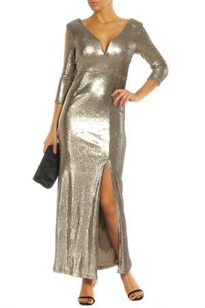 Блестящее вечернее платье с разрезом LITTLE MISTRESS. Цвет: gold