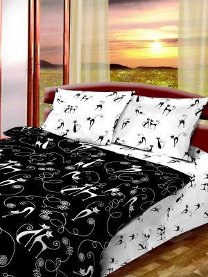 Комплект постельного белья из бязи 1,5 спальный Василиса. Цвет: белый, черный