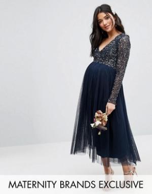 Maya Maternity Платье миди для беременных с длинными рукавами и тюлевой юбкой Ma. Цвет: темно-синий