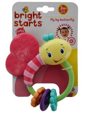 Развивающая игрушка-погремушка Розовая бабочка BRIGHT STARTS. Цвет: светло-зеленый, розовый