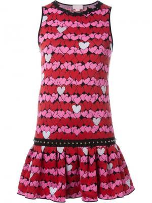 Платье с принтом сердец Giamba. Цвет: розовый и фиолетовый