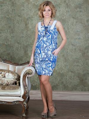 Платье UNIOSTAR. Цвет: голубой, белый, синий