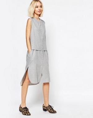 Paisie Платье-рубашка без рукавов. Цвет: серый