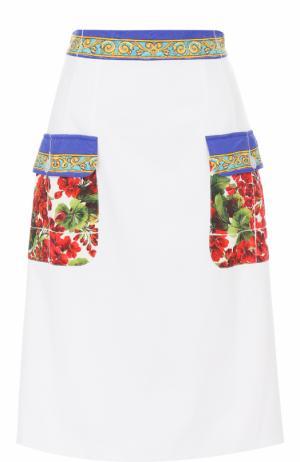Юбка с контрастными карманами и поясом Dolce & Gabbana. Цвет: белый